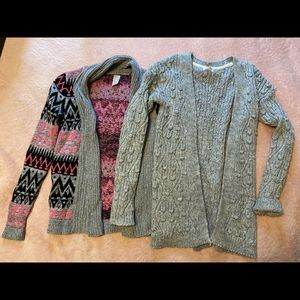 2 Knit Cardigans Junior Girls 10/12 Cat